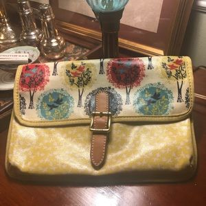 FOSSIL  coated patterned canvas leather bag